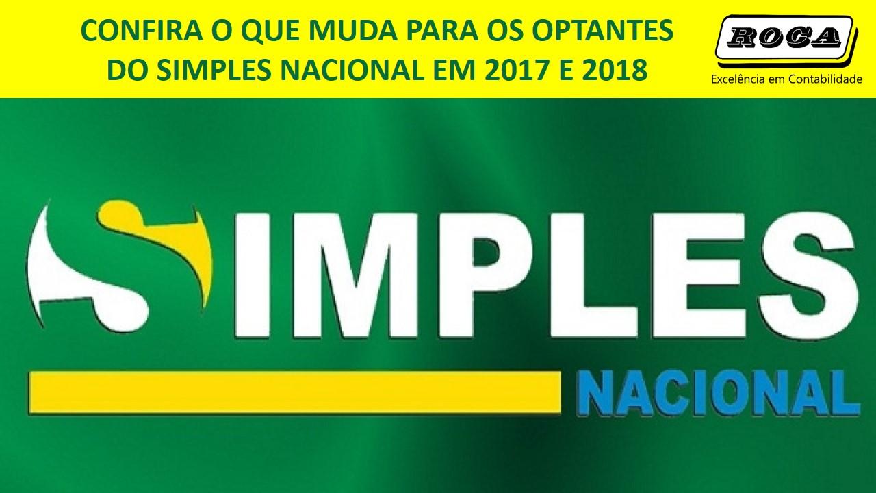 ALTERAÇÕES NO SIMPLES NACIONAL PARA 2018