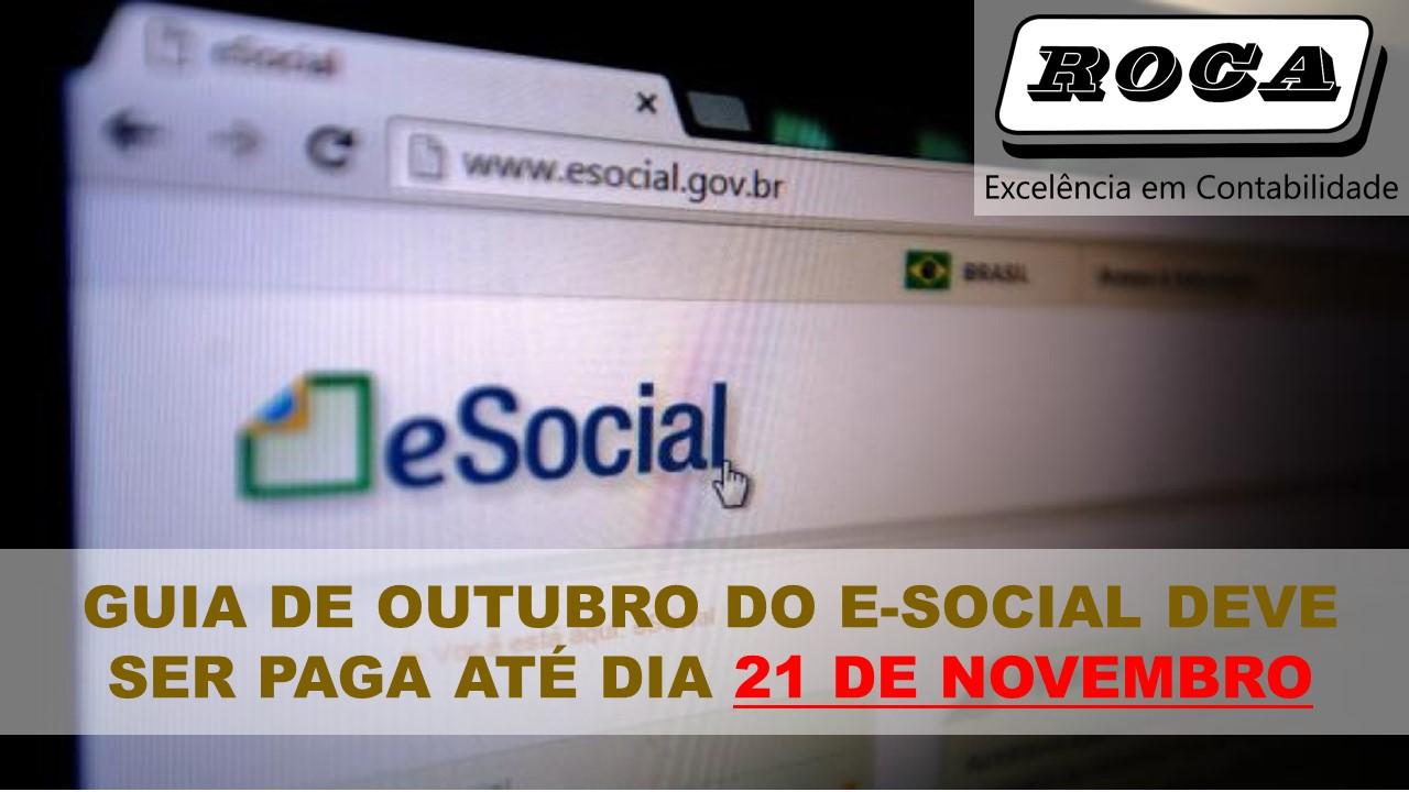 Guia de outubro do e social deve ser paga at dia 21 de for Roca de guia