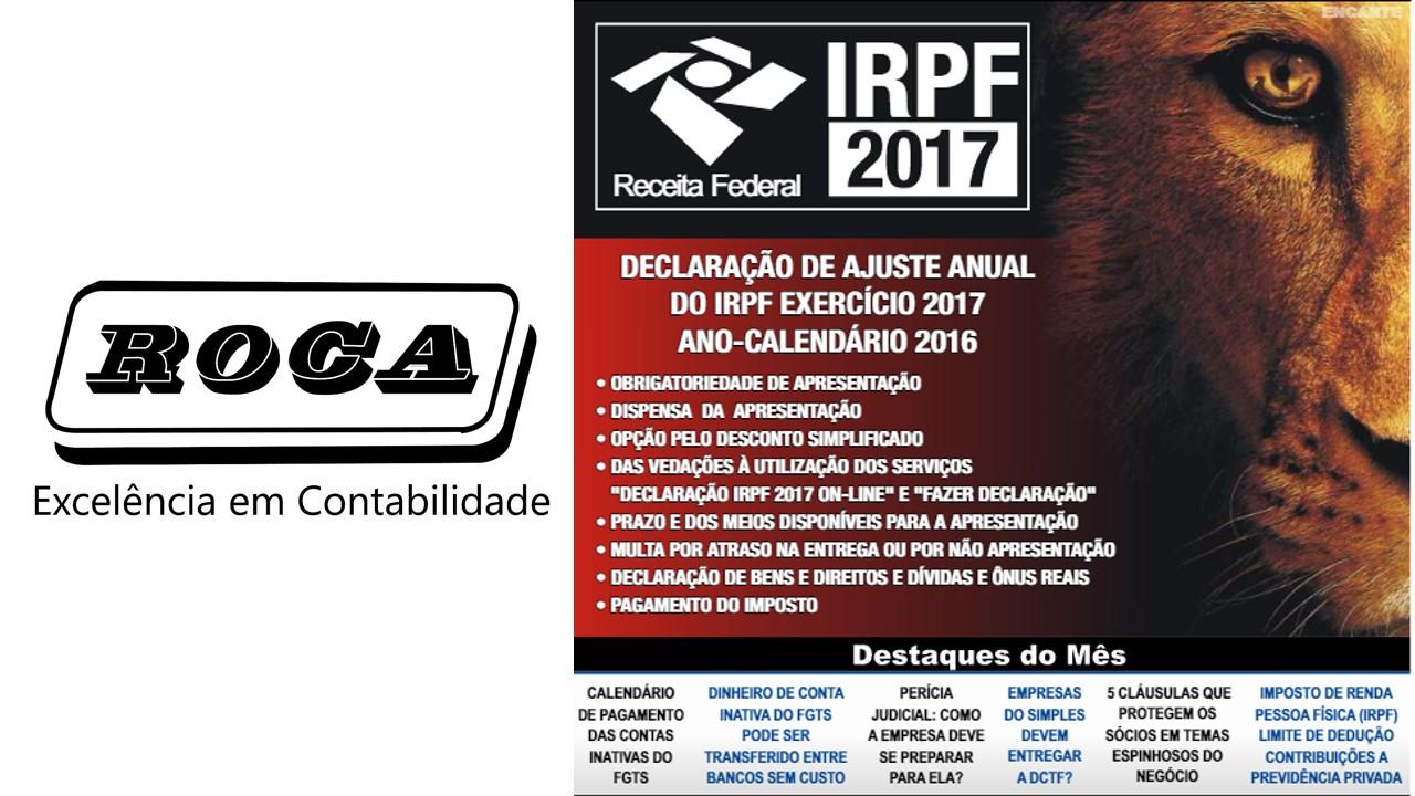 Boletim 04/2017 – DIRPF – Declaração De Imposto De Renda Da Pessoa Física – Exercício 2017