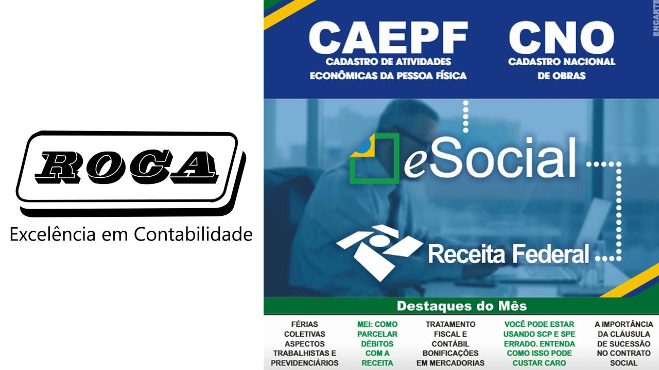 Boletim 12/2018 – E-Social – CAEPF – Cadastro De Atividade Econômica Da Pessoa Física