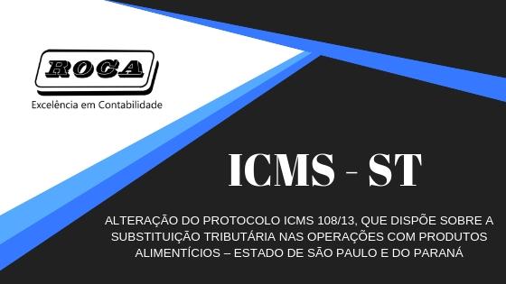 ICMS – ST – ALTERAÇÃO DO PROTOCOLO ICMS 108/13