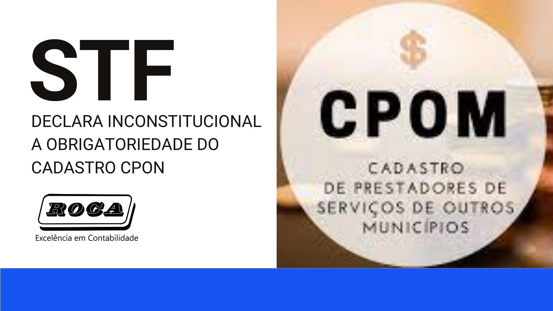 CPOM: STF – Supremo Tribunal Federal, DECLARA INCONSTITUCIONAL A OBRIGATORIEDADE DESSE CADASTRO